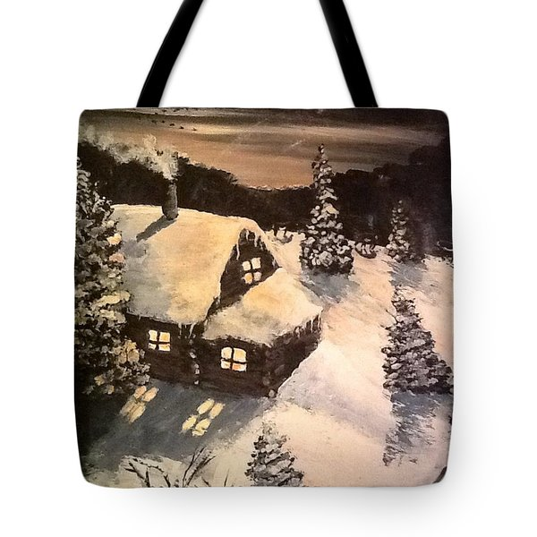 Tote Bag featuring the painting Cozy Cabin by Megan Walsh