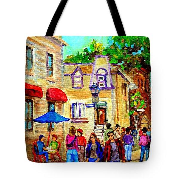Cozy Dinner Under Blue Umbrella Summer Stroll Prince Arthur Montreal Paintings Carole Spandau Tote Bag by Carole Spandau