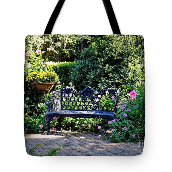 Cozy Southern Garden Bench Tote Bag by Carol Groenen