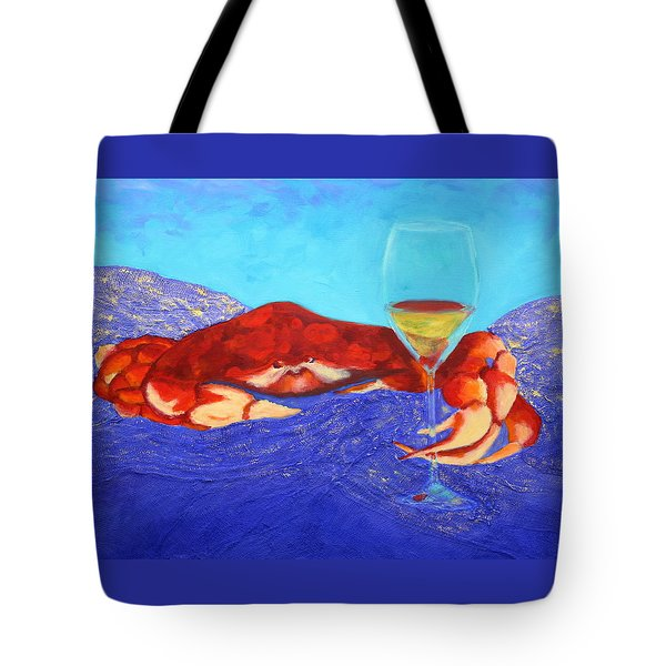 Crab And Chardonnay Tote Bag by Nancy Jolley