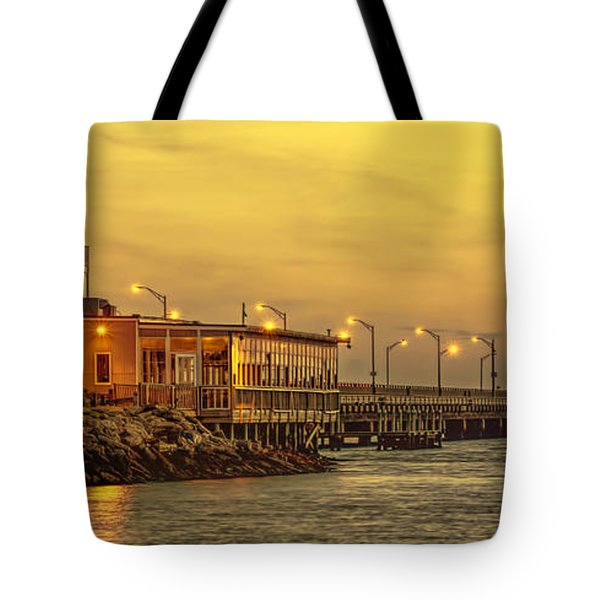 Crab Shack On The James In Amber Glow Tote Bag