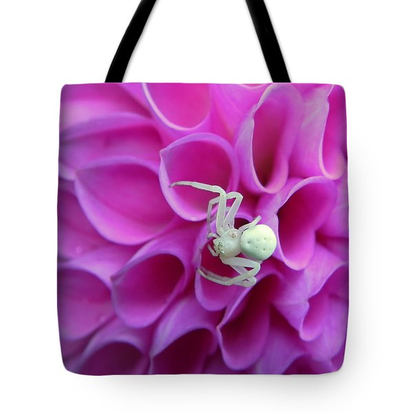 Crab Spider And Dahlia Tote Bag