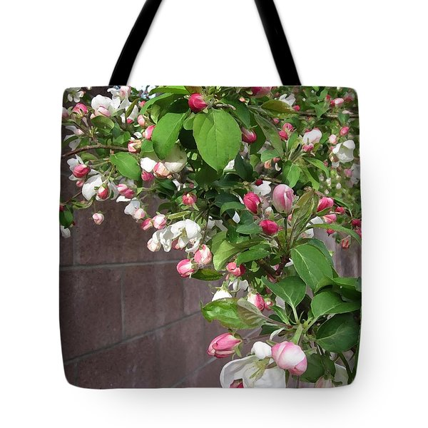 Crabapple Blossoms And Wall Tote Bag by Donald S Hall
