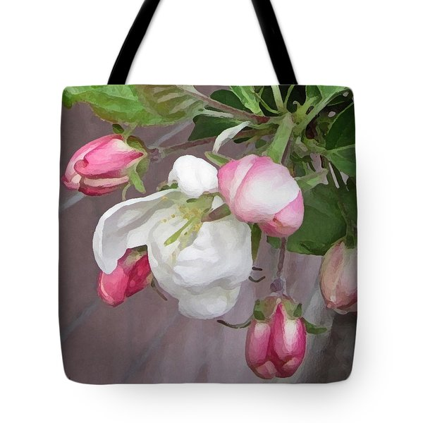 Tote Bag featuring the digital art Crabapple Blossoms Miniature by Donald S Hall