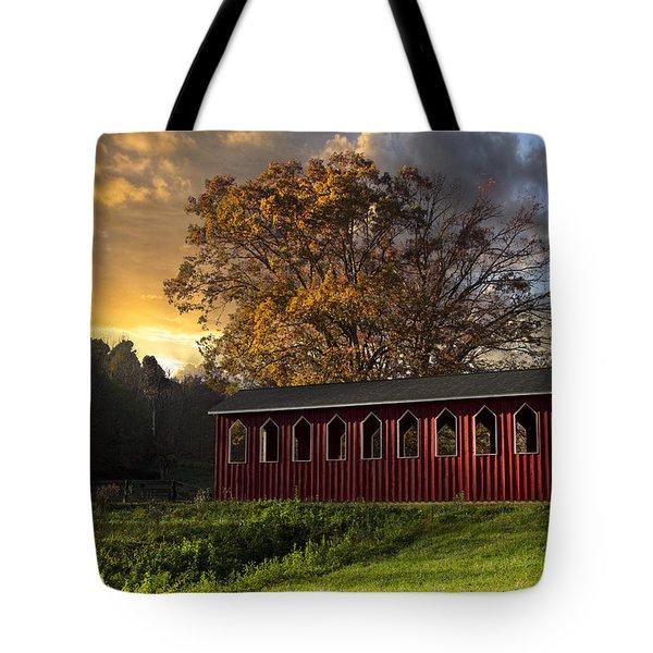 Crack Of Dawn Tote Bag by Debra and Dave Vanderlaan