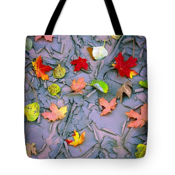 Cracked Mud And Leaves Tote Bag
