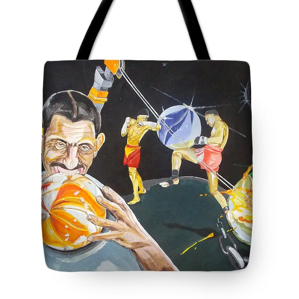 Tote Bag featuring the painting Cracking Marvels Cascando Canicas by Lazaro Hurtado