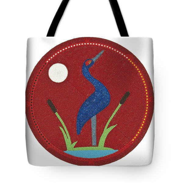 Cradleboard Beadwork Summer Crane Tote Bag