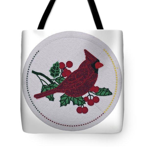 Cradleboard Beadwork Winter Cardinal Tote Bag
