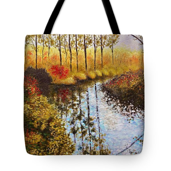 Tote Bag featuring the painting Cranberry Bog by Jason Williamson