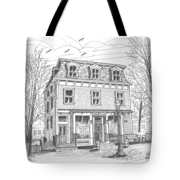 Tote Bag featuring the drawing Cranberry's Cafe Circa 1884 by Richard Wambach