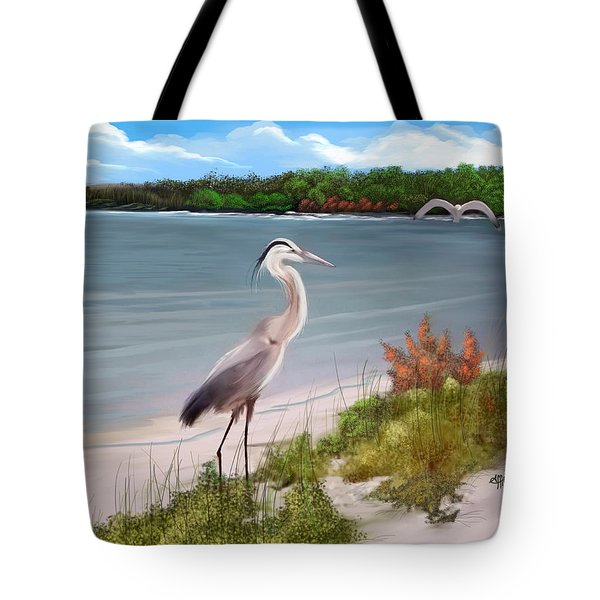 Crane By The Sea Shore Tote Bag
