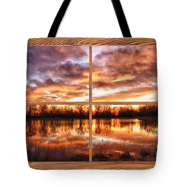 Crane Hollow Sunrise Barn Wood Picture Window Frame View Tote Bag by James BO  Insogna