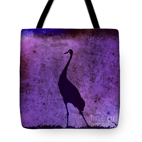 Crane In Vintage Plum Tote Bag by Anita Lewis