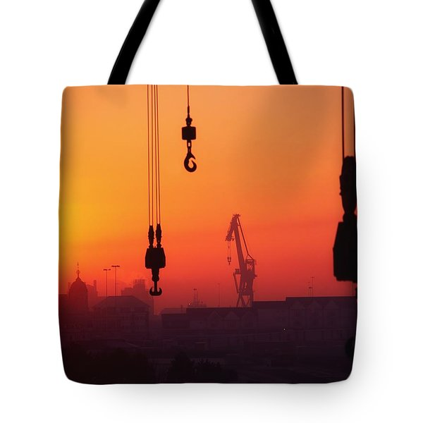 Cranes At Sunset Tote Bag by The Irish Image Collection