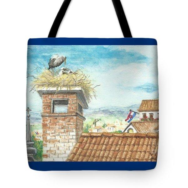 Cranes In Croatia Tote Bag by Christina Verdgeline