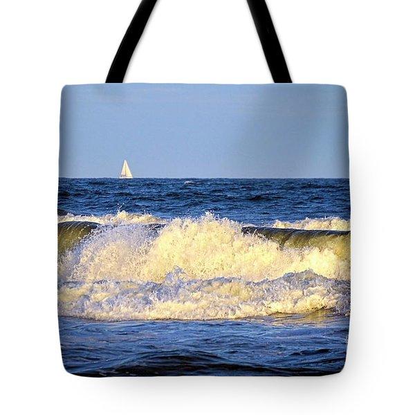 Crashing Waves And White Sails Tote Bag