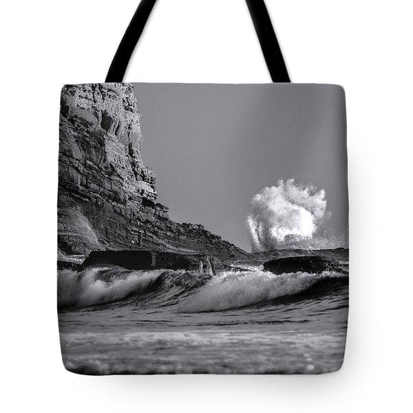 Crashing Waves At Cabrillo By Denise Dube Tote Bag