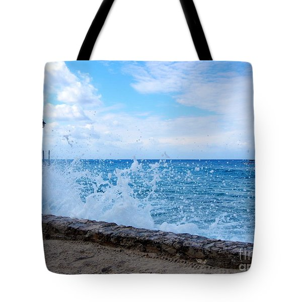 Tote Bag featuring the photograph Crashing Waves In Cozumel by Debra Martz