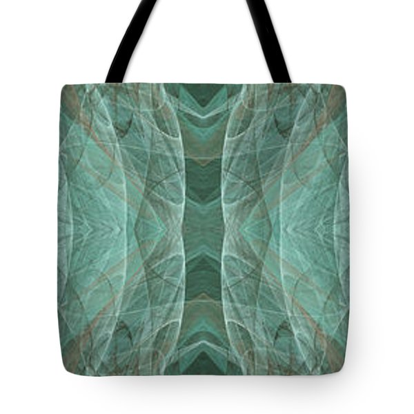 Crashing Waves Of Green 1 - Panorama - Abstract - Fractal Art Tote Bag by Andee Design