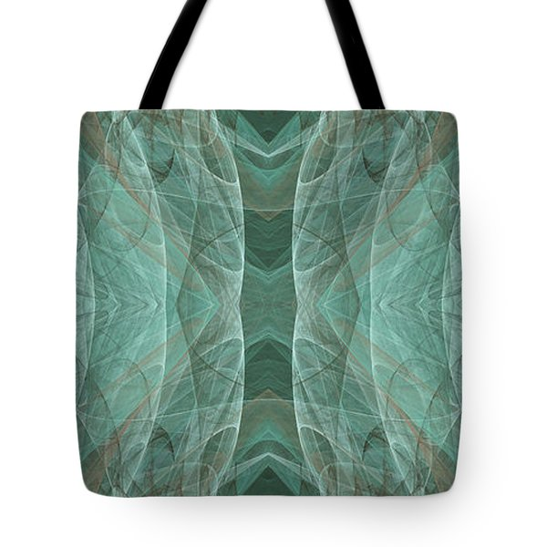 Crashing Waves Of Green 2 - Panorama - Abstract - Fractal Art Tote Bag by Andee Design