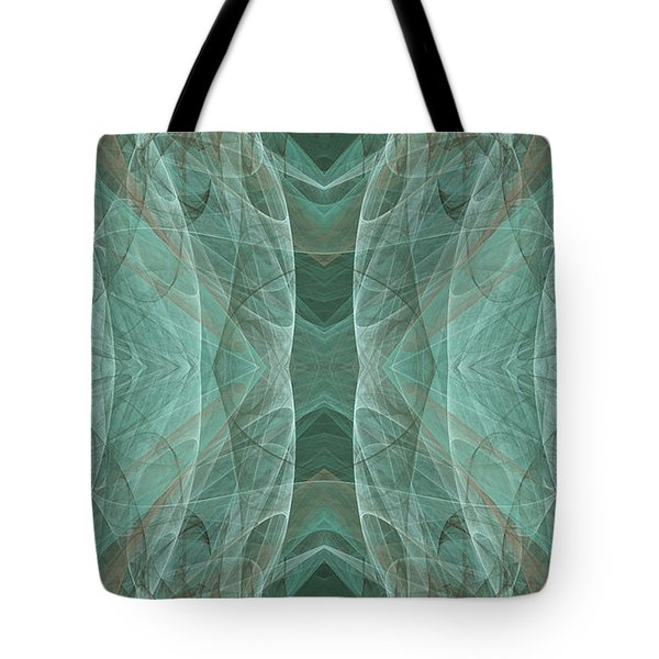 Crashing Waves Of Green 3 - Abstract - Fractal Art Tote Bag by Andee Design