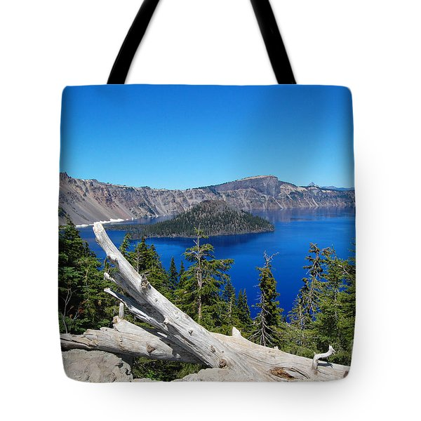 Crater Lake And Fallen Tree Tote Bag by Debra Thompson