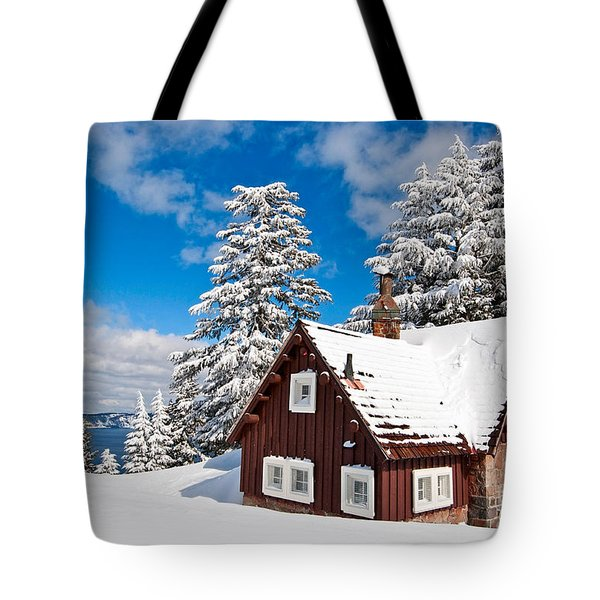 Crater Lake Home - Crater Lake Covered In Snow In The Winter. Tote Bag