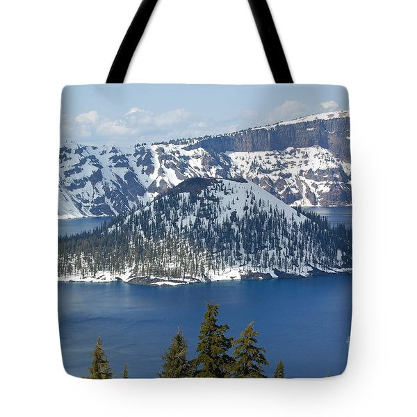 Tote Bag featuring the photograph Crater Lake With Snow by Debra Thompson