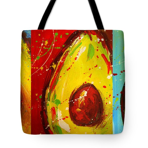Crazy Avocados Triptych  Tote Bag