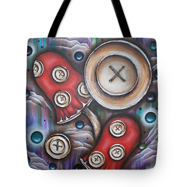 Crazy Button Mushrooms Tote Bag by Krystyna Spink