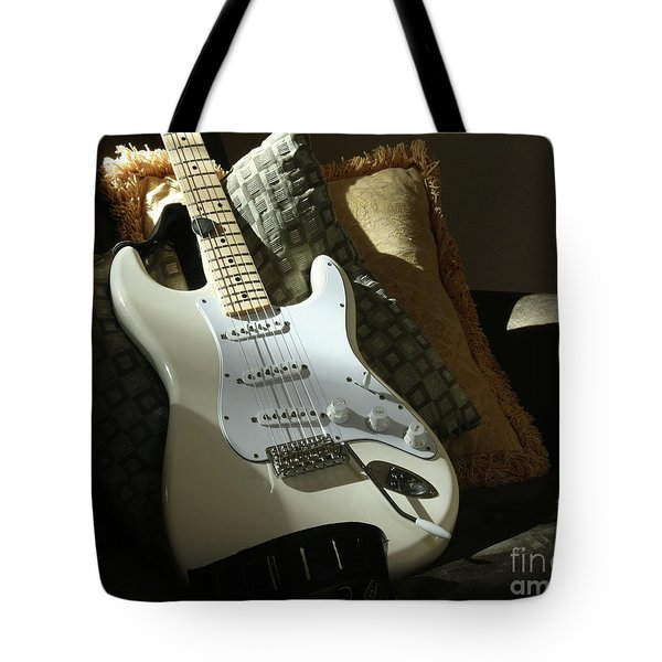 Cream Guitar Tote Bag