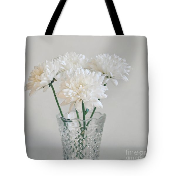 Creamy White Flowers In Tall Vase Tote Bag by Lyn Randle