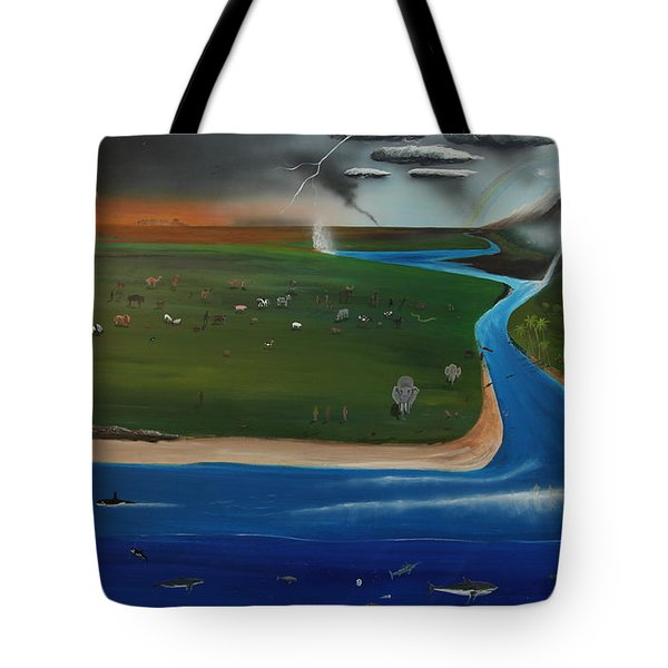 Creation And Evolution - Painting 1 Of 2 Tote Bag by Tim Mullaney