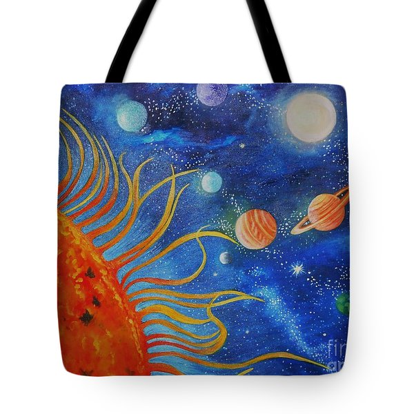 Creation Fourth Day Moon Sun Stars Planets Tote Bag by Caroline Street