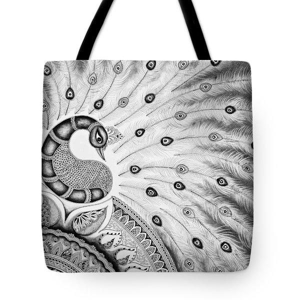 Peacock-zentangle Tote Bag