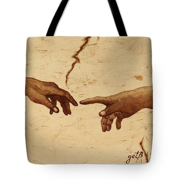 Creation Of Adam Hands A Study Coffee Painting Tote Bag by Georgeta  Blanaru