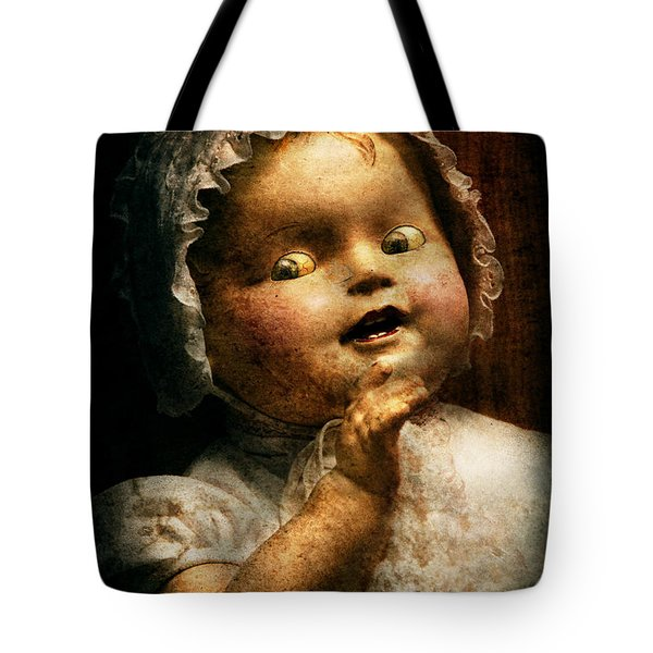 Creepy - Doll - Come Play With Me Tote Bag by Mike Savad