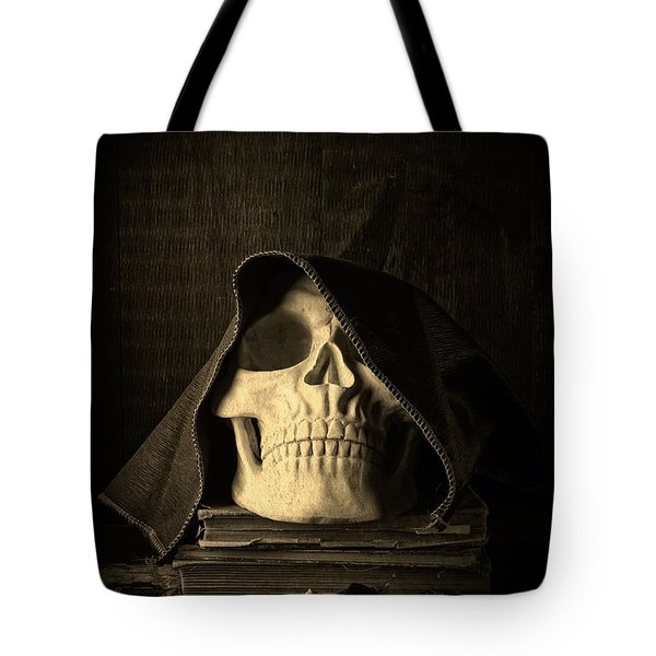 Creepy Hooded Skull Tote Bag by Edward Fielding