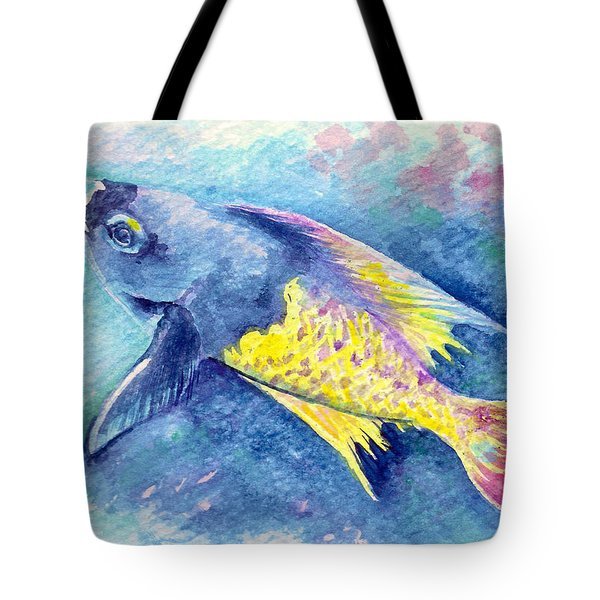 Tote Bag featuring the painting Creole Wrasse by Ashley Kujan