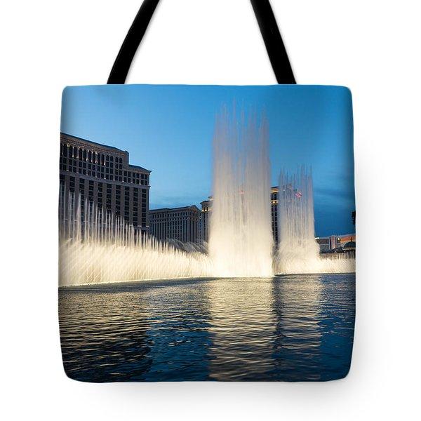 Crescendo - The Glorious Fountains At Bellagio Las Vegas Tote Bag by Georgia Mizuleva