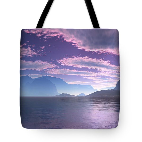 Tote Bag featuring the digital art Crescent Bay Alien Landscape by Judi Suni Hall