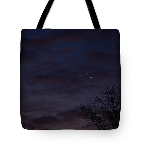 Crescent Moon And Venus Rising Tote Bag