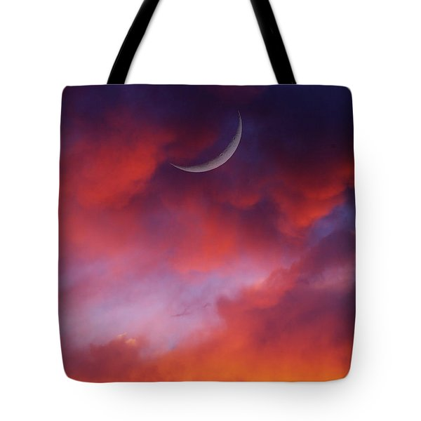 Tote Bag featuring the photograph Crescent Moon In Purple by Joseph J Stevens