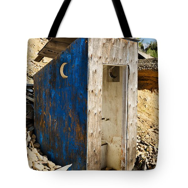 Tote Bag featuring the photograph Crescent Moon Outhouse by Sue Smith