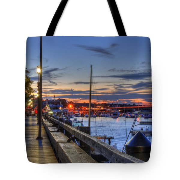 Crescent Moon Over Newburyport Harbor Tote Bag