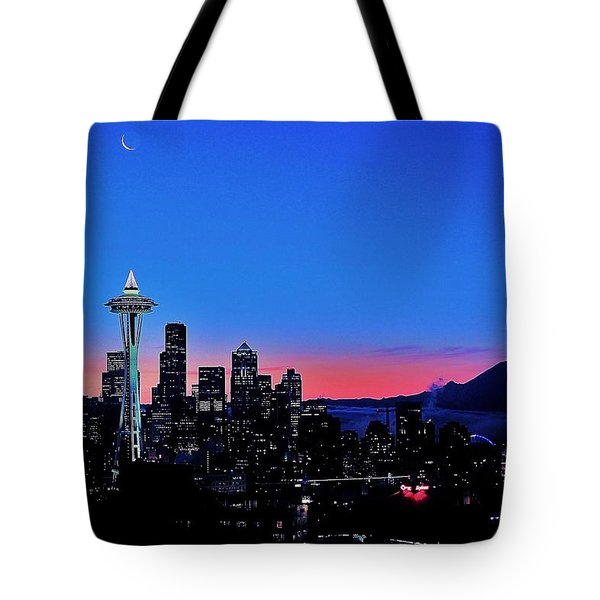 Crescent Moon Over Seattle Tote Bag by Benjamin Yeager