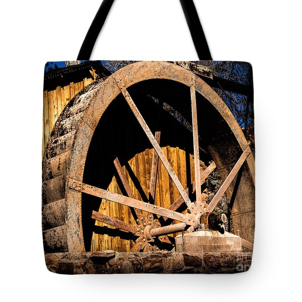Old Building And Water Wheel Tote Bag