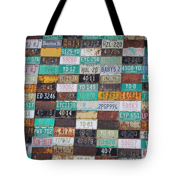 Crested Butte License Plate House Tote Bag by Fiona Kennard
