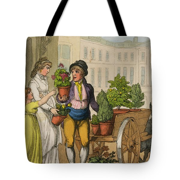 Cries Of London The Garden Pot Seller Tote Bag by Thomas Rowlandson